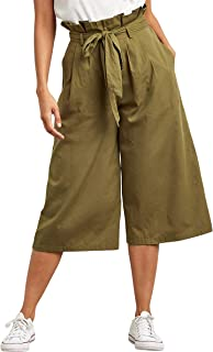 Paperbag Waist Wide Leg Culotte Pants For Women Closet by Styli
