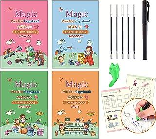 Magic Practice Copybook for Kids, 4pcs Calligraphy Books with Magic Pen, Preschool Workbooks Age 3+, Grooves Design, Reusa...