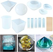 Topus 11 Packs Casting Molds for Resin,Soap,Wax etc,Including The Spherical, Cubic, Diamond, Pyramid, and Water Drop Shape Molds, with Measurement Cups& Wood Sticks.