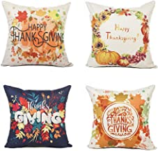 Stock Show Happy Thanksgiving Throw Pillow Covers Set of 4, Colorful Pumpkin Maple Leaf Floral Printed Decorative Throw Cover Pillowcase Cushion Cover for Home Sofa Bedroom Car Office Gift 18 x 18