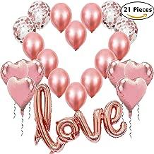 Globos de Oro Rosa, 1 Globo Rosa Dorado Love XXL + 6 Corazón + 4 Globos de Confeti + 10 Globos de látex para Decoracione Romantica, Boda, San Valentin y Fiesta de Compromiso