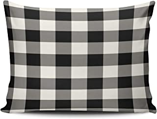 XIUBA Pillowcases Gray Black and White Outdoor Gingham Pattern Customizable Cushion Decorative Rectangle 16x24 inch Standard Size Throw Pillow Cover Case Hidden Zipper One Side Design Printed