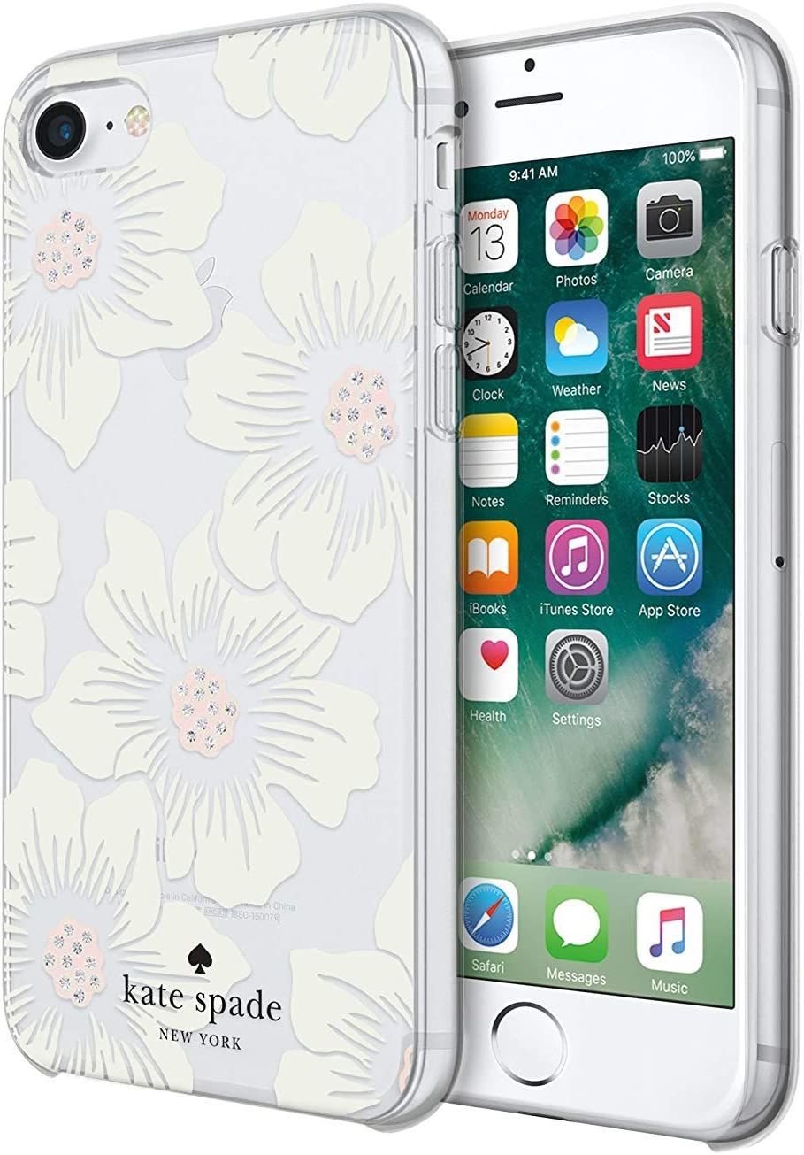 Incipio Kate Spade New York Hard-Shell Case Compatible with iPhone 7 - Hollyhock Floral (Clear/Cream with Gems)