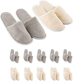 Spa Slippers,Cotton Velvet Closed Toe Disposable Slippers,Non-Slip Slippers Fit Size for Men and Women for Hotel Home Gues...