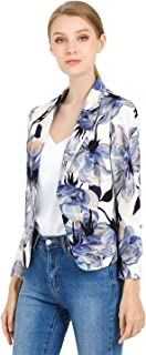 Allegra K Women's Open Front Office Crop Floral Print Blazer Jacket
