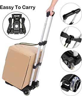 Coocheer Aluminum Folding Portable Luggage Cart Lightweight Travel Hand Truck/Heavy Duty Hand Trucks (80LB)