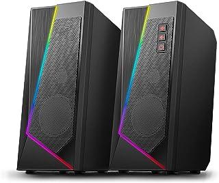 Głośniki stacjonarne, głośnik stereofoniczny, z 6 kolorowymi trybami LED, ulepszoną dźwiękiem i łatwą regulowaną regulacją...