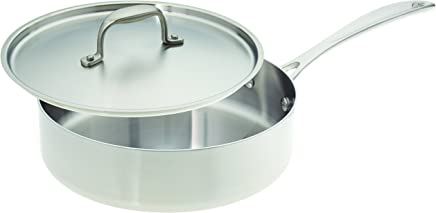 American Kitchen Cookware Stainless Steel Saute Pan with Lid, 10 Inch