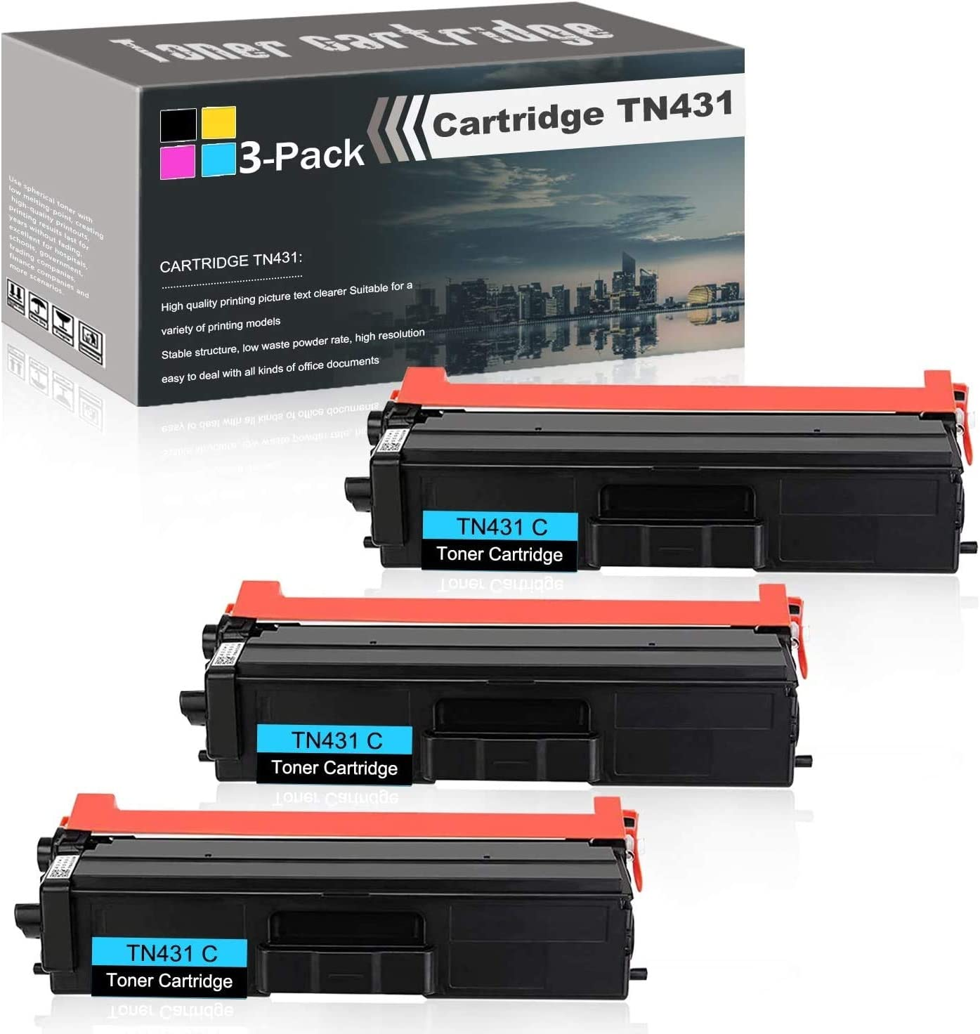 Compatible High Yield (Cyan,3-Pack) Laser Toner Cartridge Replacement for Brother TN431 use with HL-L8260CDW L8360CDW L8360CDWT L9310CDW L9310CDWT L9310CDWTT DCP-L8410CDW MFC-L8610CDW Printers Toner.