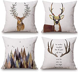U-LOVE Deer Throw Pillow Case 4 Pack Cotton Linen Cushion Covers,18 X 18 Inch Square Pillow Covers for Home Decorative (Deer)