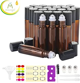 24, 10ml Roller Bottles for Essential Oils - Amber, Glass with Stainless Steel Roller Balls by Mavogel (3 Extra Roller Balls, 54 Pieces Labels, Opener, Funnel, Dropper, Brush Included)
