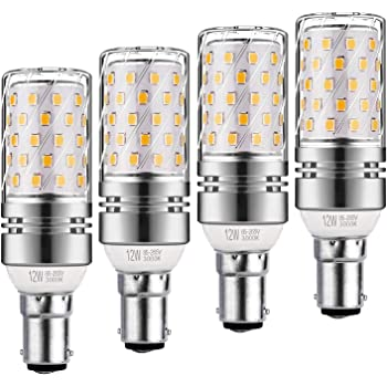 Sauglae B22 LED Maíz Bombilla, 12W, 3000K Blanco Cálido, 100W Incandescente Bombillas Equivalentes, 1200lm, B22 Gorra Bayoneta, 4-Pack: Amazon.es: Iluminación