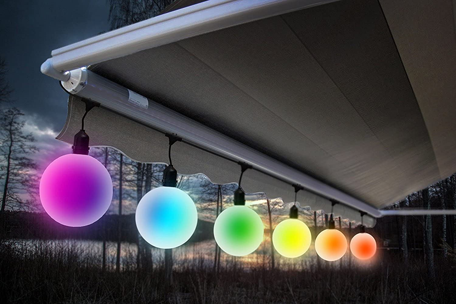 Meilo BS14-6-G40O-CC 6ct G40 LED Globe String Lights color Changing, 14', Multi