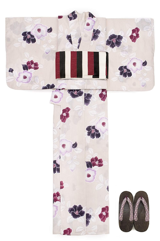(ソウビエン) 浴衣 セット レディース 薄茶色 ベージュ 赤紫色 ピンク 椿 縞 綿麻 半幅帯 マクレ ボヌールセゾン