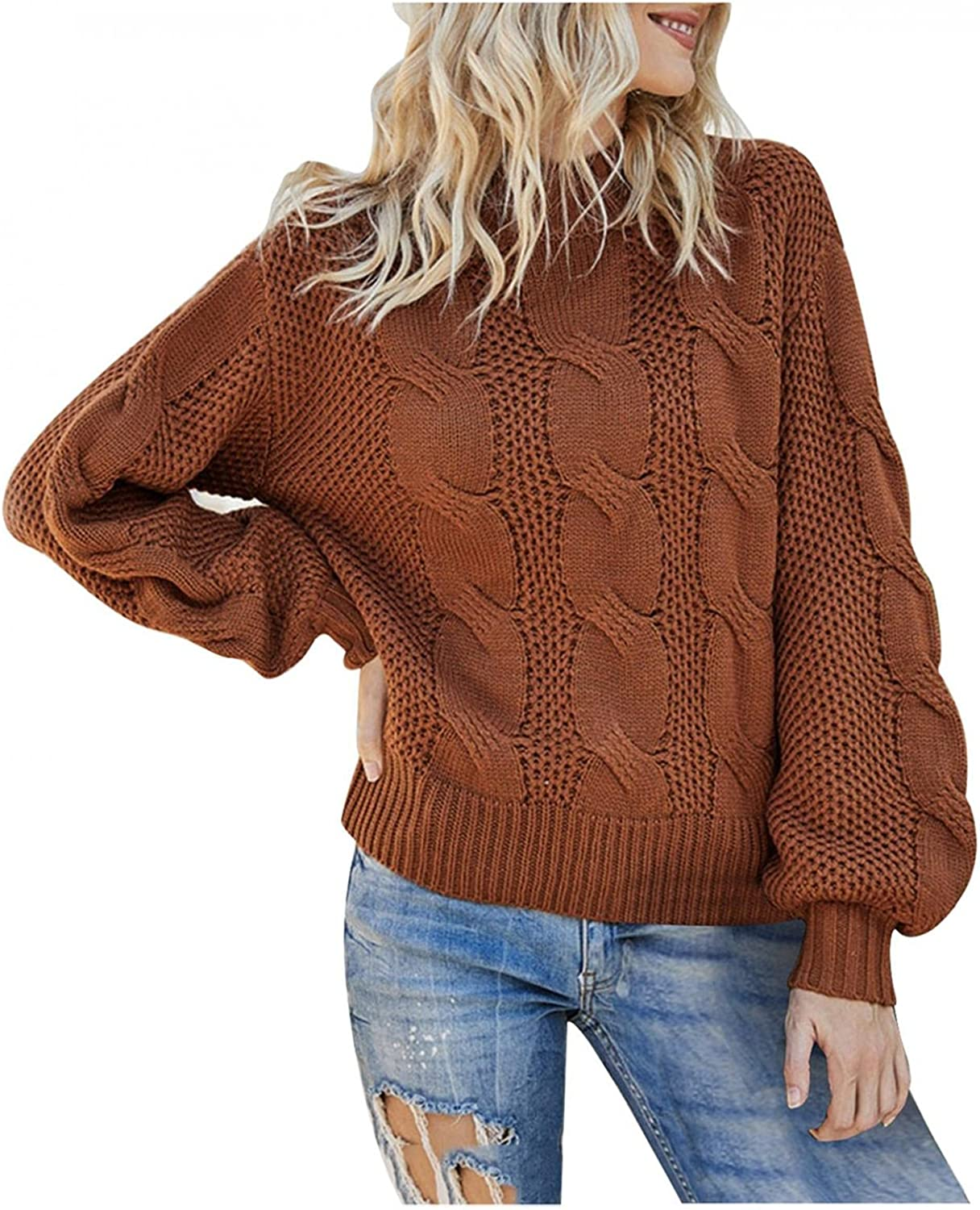 Hemlock Women Cable Knit Sweaters Cowl Neck Long Sleeve Pullovers Solid Color Knit Tops Fall Sweater Outwear