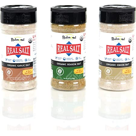 Redmond Real Sea Salt - Natural Unrefined Organic Gluten Free, Seasoning 4.75 Ounce Shaker Bundle (Onion, Season, Garlic)