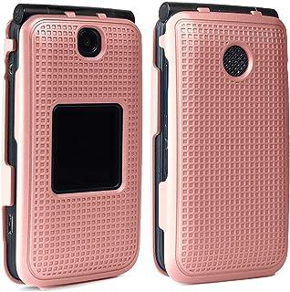 Case for Alcatel Go Flip V, Nakedcellphone [Rose Gold Pink] Protective Snap-On Cover [Grid Texture] for Alcatel Go Flip, M...