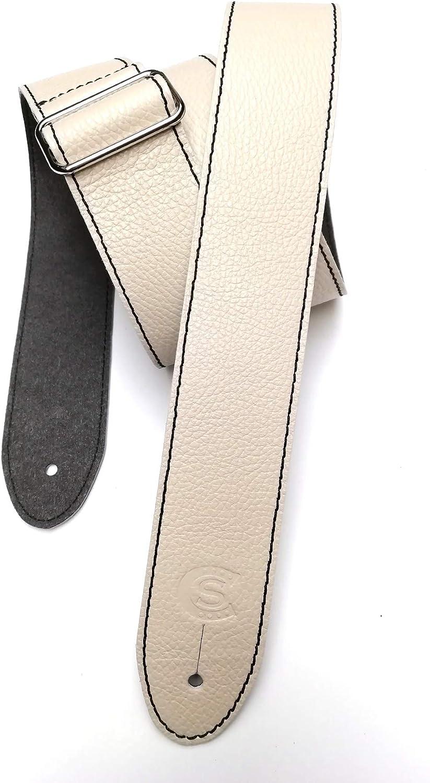 Correa para guitarra y bajo de piel anchura 5 cm Custom Style 21503D02 milk