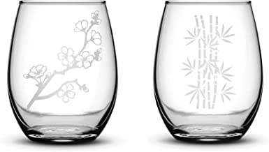 Integrity Bottles Premium Stemless Wine Glasses, Set of 2, Cherry Blossom and Bamboo, Deep Etched 15 Ounce Gifts, Made in USA, Sand Carved by Hand