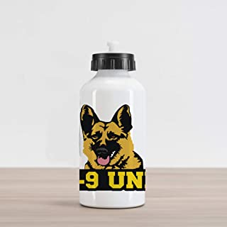 Lunarable German Shepherd Aluminum Water Bottle, Special Working Police Dog K-9 Unit Typography Abstract Hound, Aluminum Insulated Spill-Proof Travel Sports Water Bottle, Multicolor
