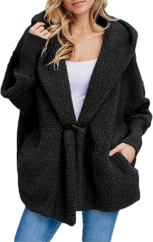 CHERFLY Women's Fuzzy Fleece Jacket Hooded Fluffy Long Sleeve Co