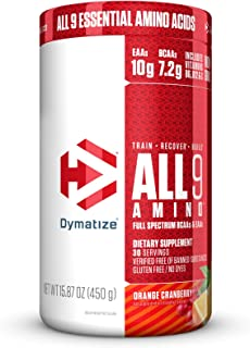Dymatize All9 Amino with Full Spectrum BCAAs, 10g of Essential Amino Acids Per Serving For Optimal Muscle Protein Synthesis, Orange Cranberry, 15.87 Oz