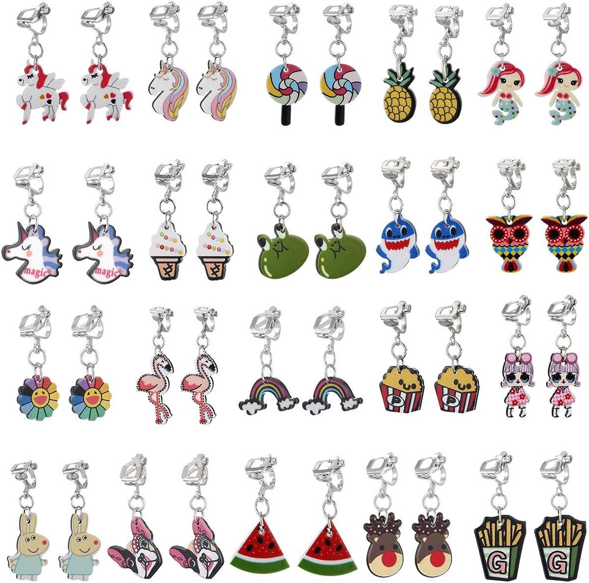 12/20 Pairs Funny Cute Earrings Set, Colorful Enamel Charms Ear Jewelry, Unique Personalized Dangle Hoop Earring, Hypoallergenic Copper Leverback Earrings for Little Teen Girls and Women
