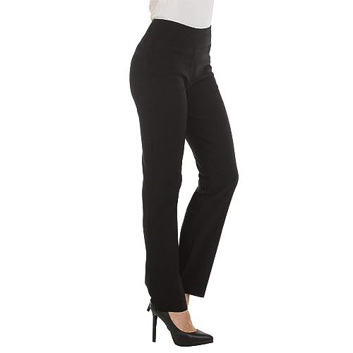 Womens Girls Ladies Black Straight Leg High Waist Smart School Office Trouser
