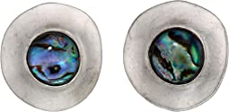Abalone Disc Clip-On Earrings