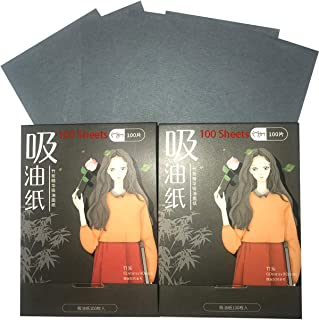 Natural Bamboo Charcoal Face Oil Blotting Paper Absorbing Tissue Sheets Remove Excess Oil and Shine Preventing Blackhead Acne for Facial Skin Care Make Up for Men and Women 100 Each (Pack of 2)
