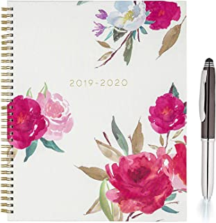 """Eccolo 2019 2020 Roses Spiral Agenda Planner 18 Tabbed Months of Monthly & Weekly Views Calendar with Stickers & Free 3 Way Pen 8.5"""" x 7.25"""