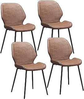 ZCXBHD 4X Sillas de Comedor Dining Chairs Sillas Tapizadas Paquete de 4 Sillas Cocina Nórdicas Cuero Sintético Sillas Bar Metal Silla de Oficina (Color : Brown)