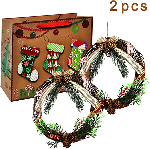 VILIVIT Natural Grapevine Wreath Handmade Door Hanging Twig Decoration With Red Berries Pine Cones Bow For Christmas Ornament 8in