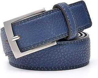 Jeans Belt Men Cowskin Blue Dress With Belt Trouser Waistband Silver Metal Belt