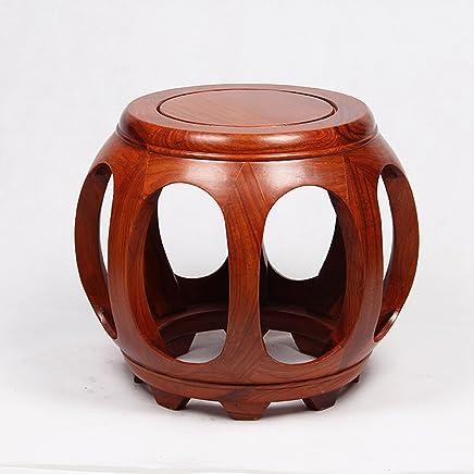 龙上龙让利仿古鼓凳圆凳实木非洲花梨木换鞋凳木板凳子(花梨木高35cm)