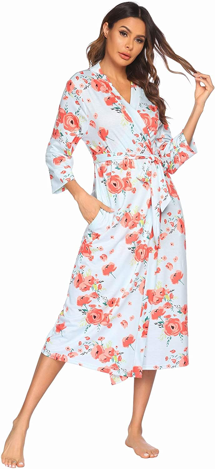 Spring new work one after another Evanhome Womens Robe Soft Cotton Lightweight Shipping included Bathrobe Night Long