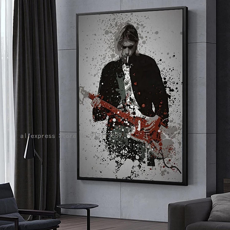 cuadros decoracion salon listones de madera 60x90cm Frameloos Kurt Cobain Rock Rapper Poster Hombre tocando la guitarra Dormitorio Decoración de pared Mural