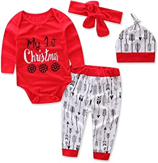 """gllive Baby Boys' Clothes Long Sleeve """"1St Christmas"""" Romper Outfit Pants Set +Hat+Headband"""