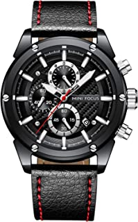 Men Quartz Sport Watch Fashion Genuine Leather Chronograph Military Army Watches Black Face Wristwatch
