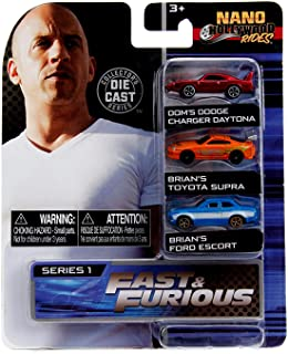Jada Toys Fast & Furious Nano Hollywood Rides Dom's Dodge Charger Daytona, Brian's Toyota Supra and Brian's Ford Escort, 1...