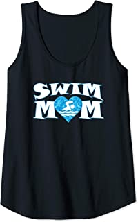 Womens Swim Mom Heart Shaped Pool Water Swimmer Swimming & Diving Tank Top