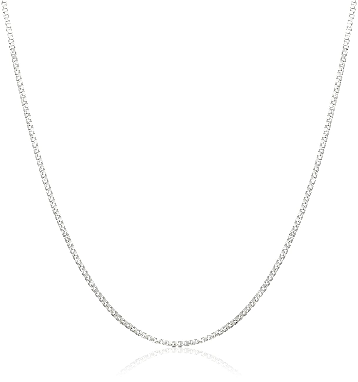 925 Sterling Silver .8MM Box Chain - Italian Necklace - Super Thin & Strong - FREE Gift w/Order 16