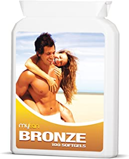 MyTan Bronze Tanning Pills | 100 Softgels | Sunless Tan Supplement | With Beta Carotene Astaxanthin Lutein Lycopene and More | Over 5-week Supply