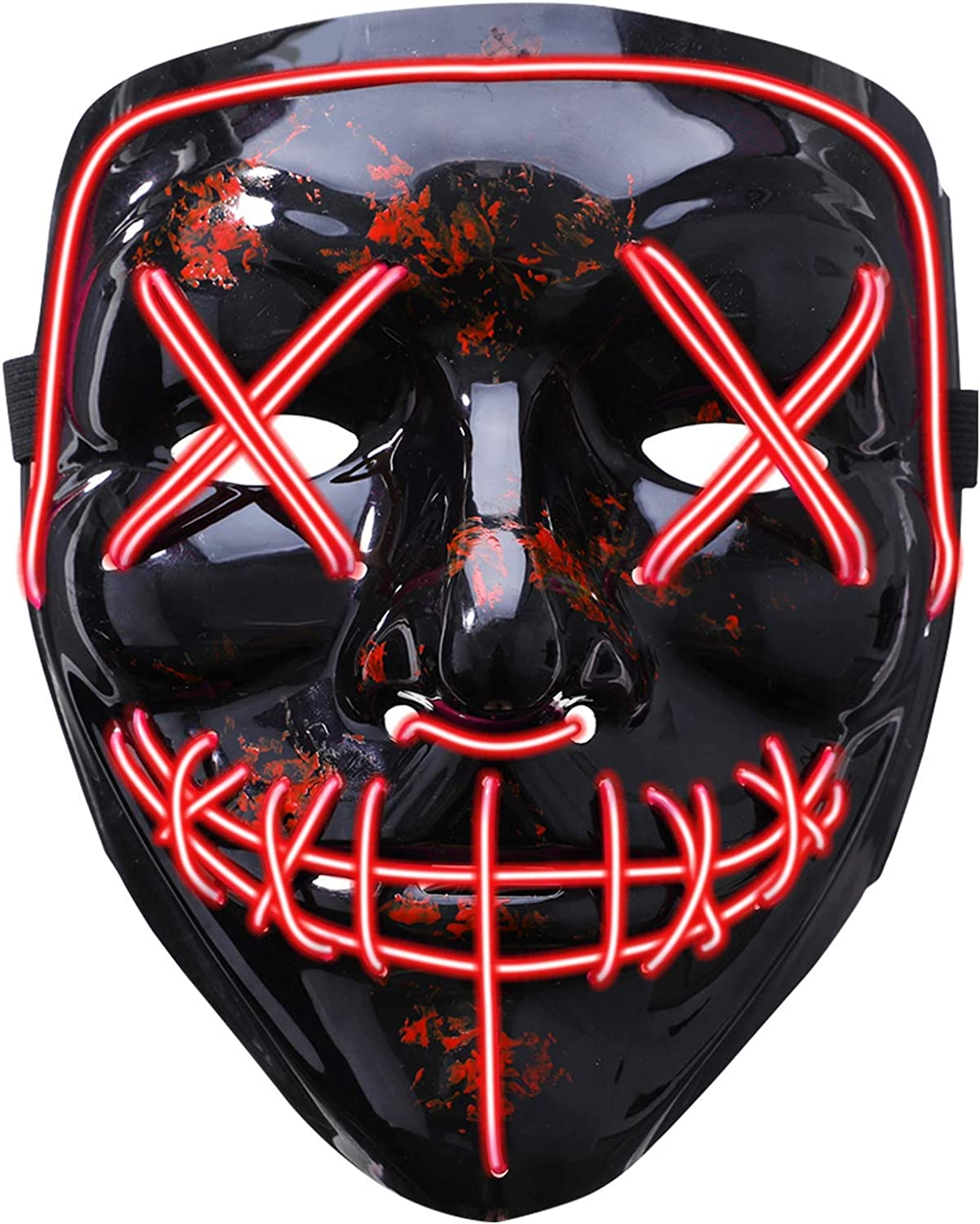 GLIME LED Max 60% OFF Mask Halloween Ranking TOP12 Scary Cosplay Led for Costume