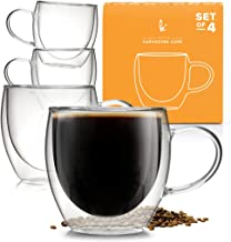 Coffee or Tea Glasses Set of 4-8oz Double Wall Thermal Insulated Cups with Handle