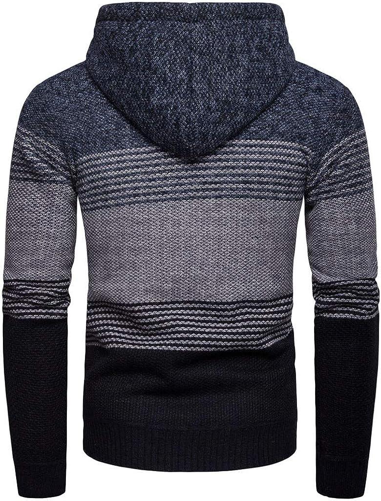 FRC0LT Men's Knitted Cardigan Sweater Autumn Casual Wide Striped Zipper Jacket Long Sleeve Coat