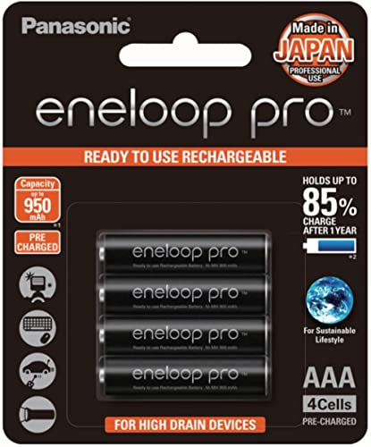 Panasonic AAA Ni-MH, High Capacity Eneloop Pro Pre-charged AAA High Capacity Re-chargeable Batteries, (BK-4HCCE/4BT)