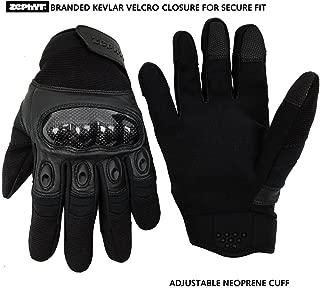 Zephyr Tactical Full Finger Carbon Fiber Knuckle Gloves w/Touchscreen Technology