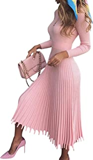 VERWIN Mid-Calf Pleated Dress Nine Points Sleeve Pullover Women's Maxi Dress Kint Dress Sweater Dress