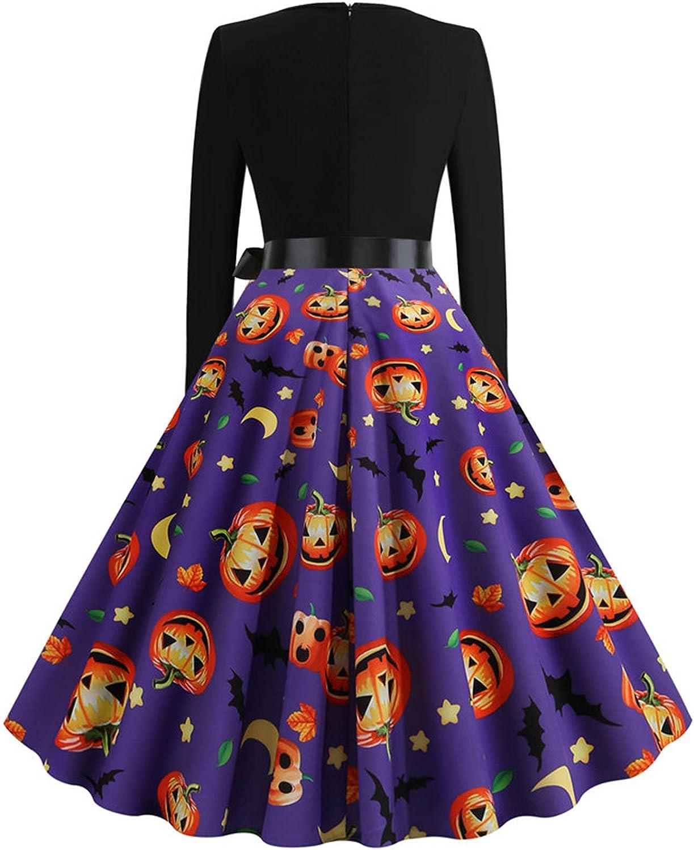 Women's Maxi Dress Prom Formal Dress Halloween Pumpkin Printed Long Sleeve Gown Party Long Dress with Belt
